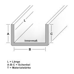 Edelstahl U-Profil Blank