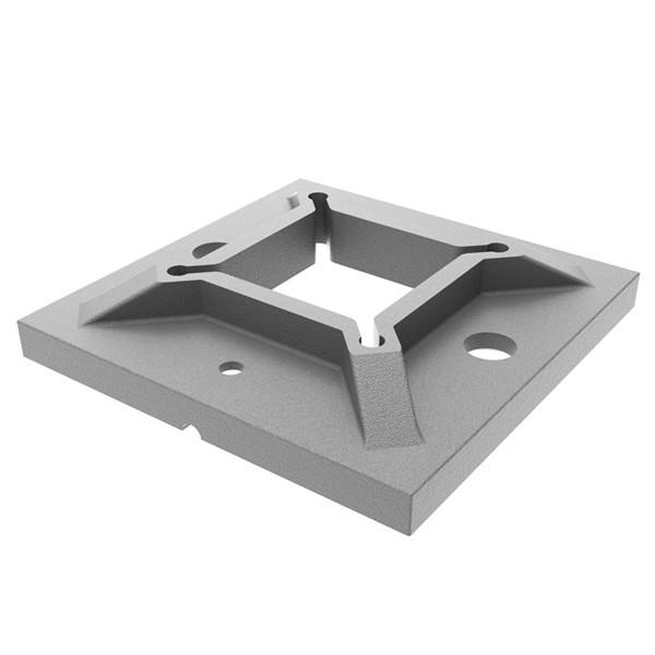 Edelstahl Bodenanker 40x40 für Vierkantrohr